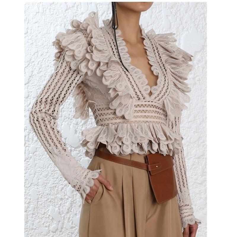 Blusas Top T Volants Rose Feminina Col Australie Chemisier À Creux Haute Plissée V shirts Couture Qualité Design q6OBSBw