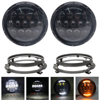105W 7 Inch Round LED Headlight With White Amber Turn Signal DRL For Jeep Wrangler Jk