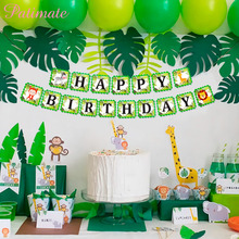 PATIMATE Animal 1st Birthday Flags Happy Banner Jungle Party Decorations Baby Decoration Shower Decor