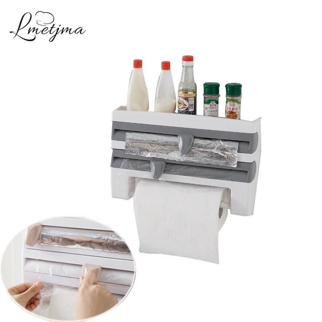 Lmetjma 3 In 1 Wall Mounted Kitchen Cling Film Rack With Cutters Plastic