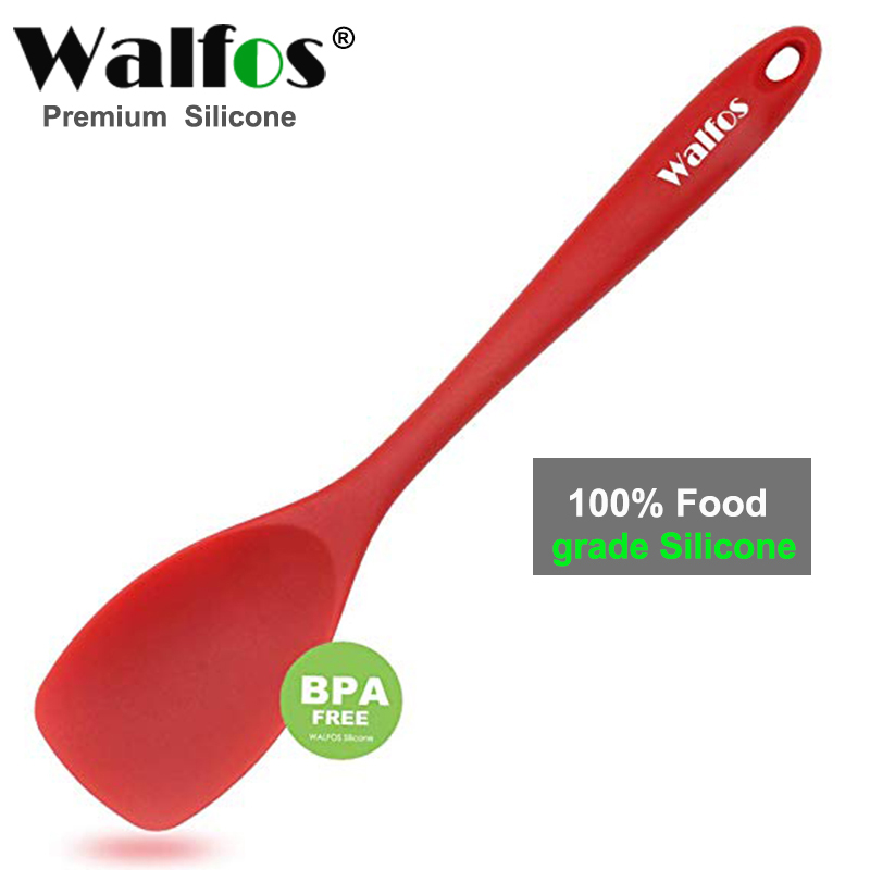 WALFOS Food Grade Silicone cooking Spoon Essential Heat Resistant Flexible Nonstick Silicone Baking Mixing Spoon Spatula|Spoons| |  - title=