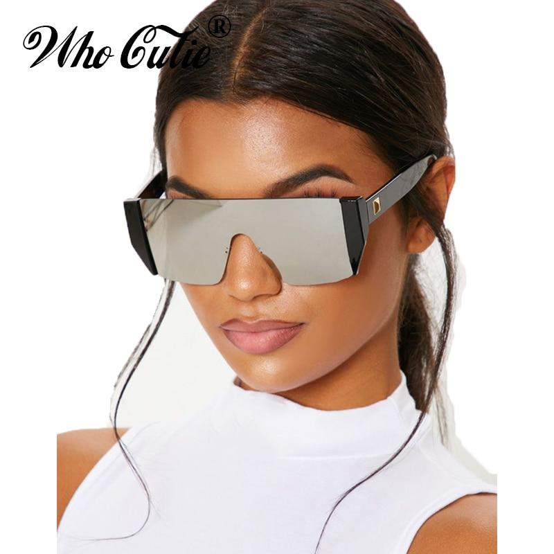WHO CUTIE 2019 Futuristic One Piece Sunglasses Men Brand Designer Oversized Square Rimless Sun Glasses Black Shades Women OM504