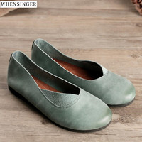 Whensinger Women Vintage Elegant Fashion Flat Shoes loafers Genuine Leather Casual Flats Shoe Green, brown