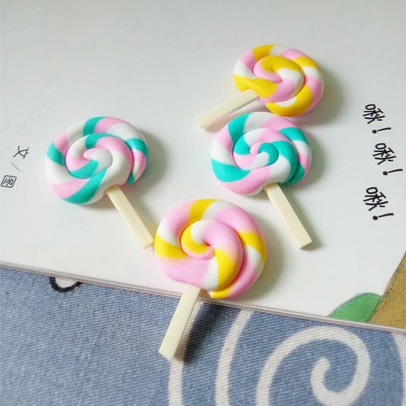 Clay Handicraft Miniature Rainbow Lollipop Simulation Candy Cabochon Crafts