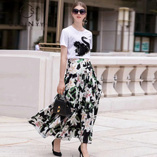 SEQINYY Women Set 2020 Summer New Fashion Design Embroidery Swan Crystal White Cotton T shirt + Romantic Lily Flower Print Skirt