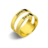 Personalized Engraved Two Names Ring Gold Color Family Ring for Mother