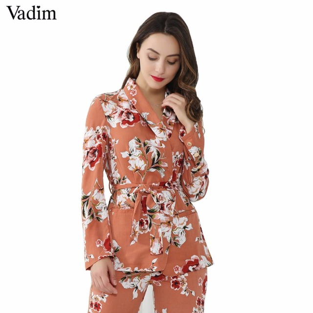 Vadim women vintage floral print blazer Notched collar sashes long sleeve coat casual outerwear casaco feminine tops CT1452
