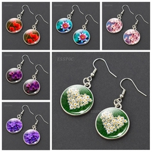 Simple Style Daisy Rose Sakura Earrings Flowers Earings Glass Cabochons Fashion Jewelry Gifts for Women