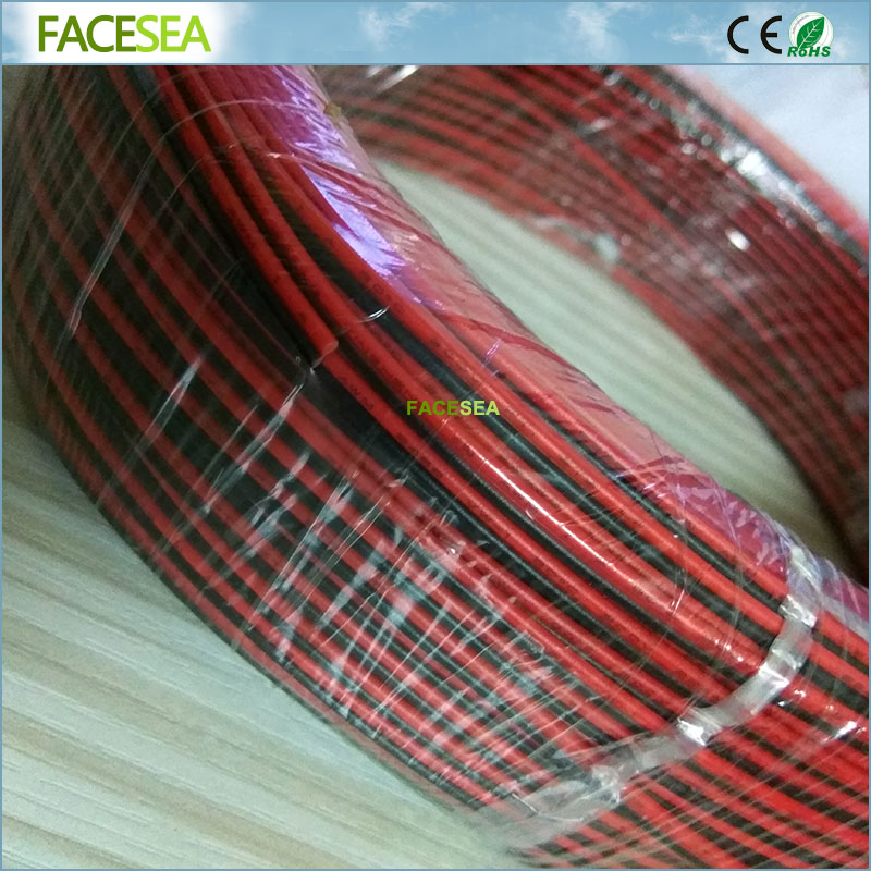Free DHL 2pcs/5pcs 100M 22AWG 2 Pin Electric Extension Wire Cable Tinned Copper insulated PVC Red Black Extend Cord free dhl 100