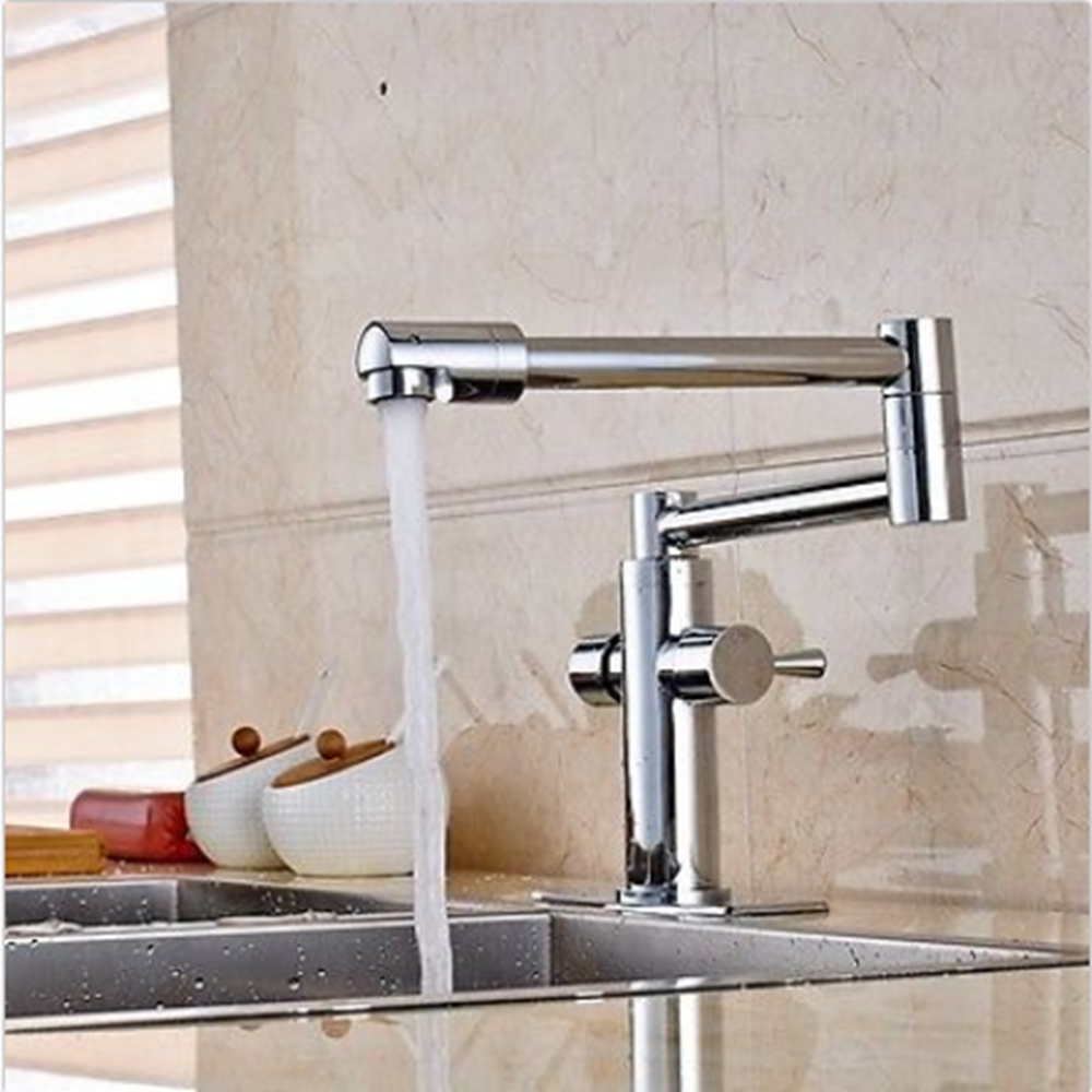 Uythner Chrome Extent Kitchen Faucet Long Spout Vessel Sink Mixer Tap Deck Mounted NEW led spout swivel spout kitchen faucet vessel sink mixer tap chrome finish solid brass free shipping hot sale