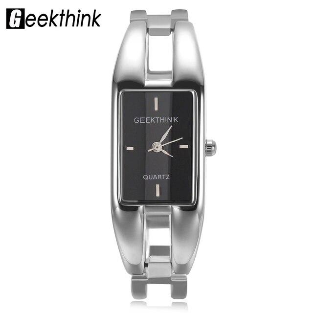 GEEKTHINK Luxury Brand Quartz Watch Women rectangle Stainless steel band female clock Bracelet Lady Casual Wristwatch gift New