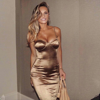 Sexy Midi Party Dress Bodycon Satin Shiny Party V Neck Sleeveless Split Back Cross Straps Gold Red Knee length Dresses Black