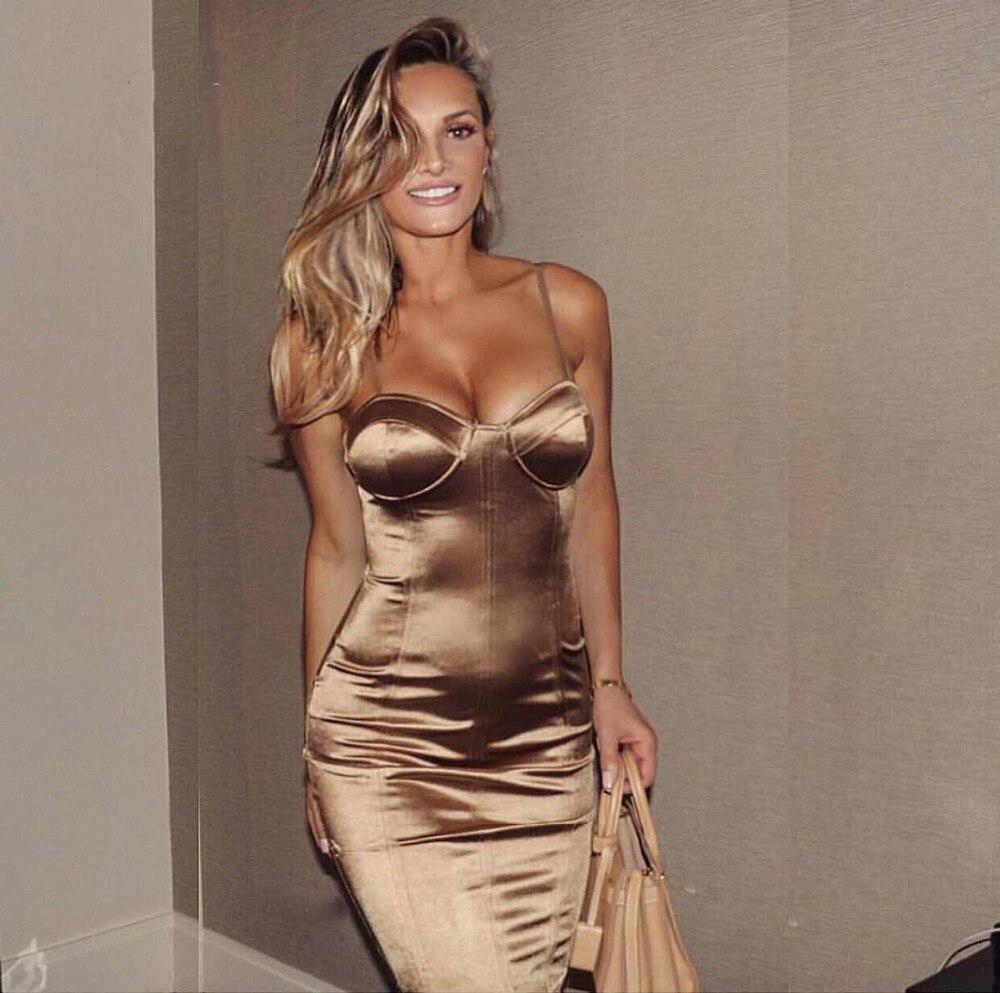 Sexy Party Midi vestido Bodycon satén brillante partido V cuello sin mangas Split espalda correas oro rojo longitud de la rodilla vestidos negro