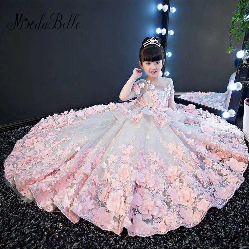 Modabelle 3D   Flowers   Applique Cute   Flower     Girl     Dresses   Lace Pearls Princess 2018 Short Sleeves Custom Made Kids Formal Wear