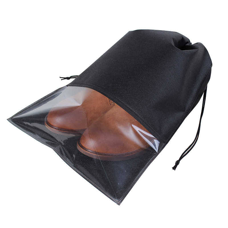 1 pc Non-woven semi-transparent shoe storage bag travel DrawString harness pocket high heel leather shoes bag dust-proof package