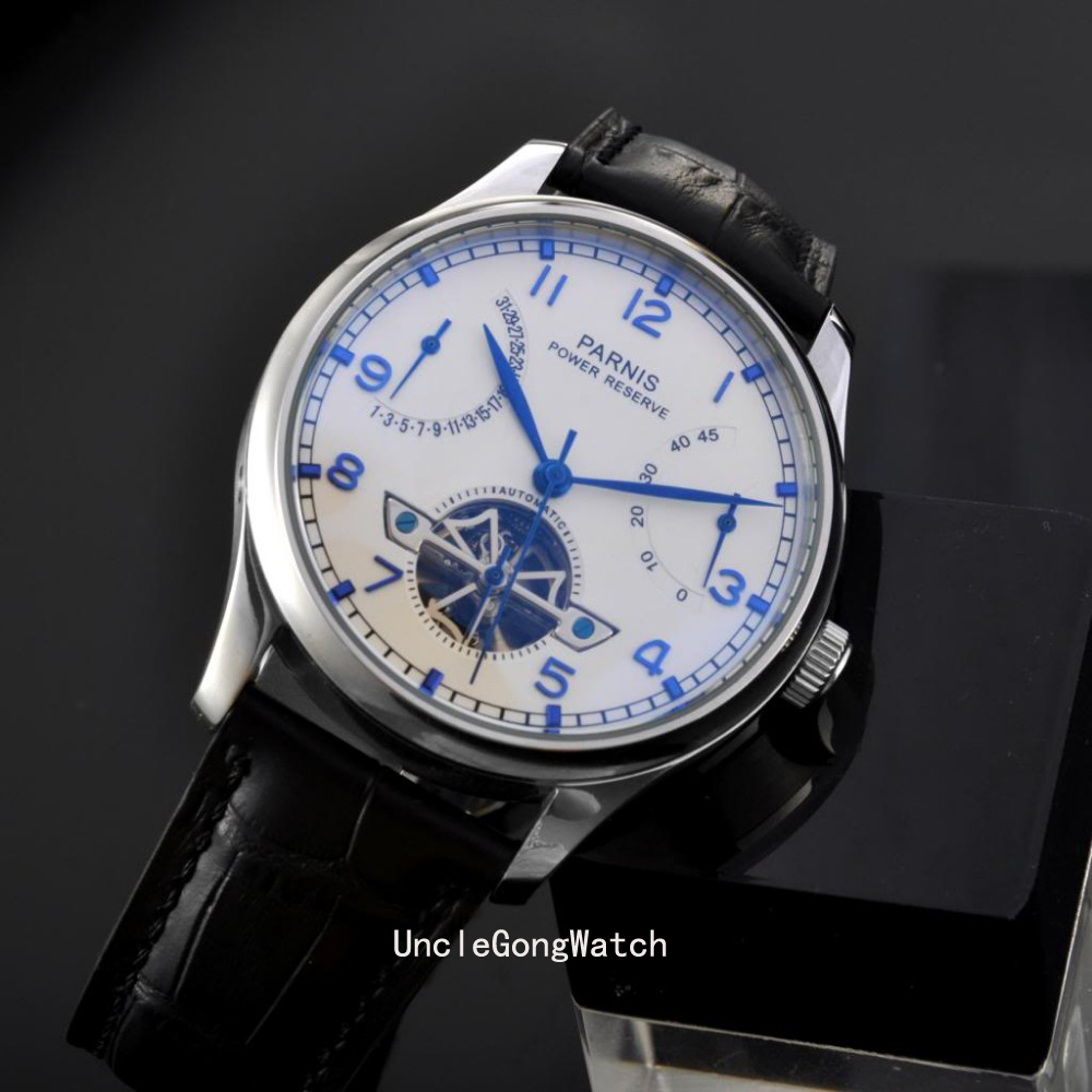43mm Parnis Power Reserve White Dial Blue Numbers Automatic Mens Watch  PA4305SWB power reserve 1x
