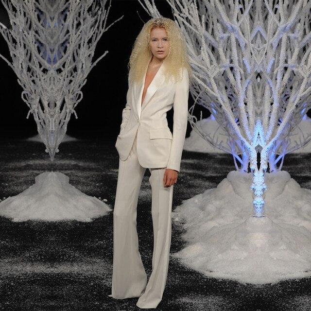 silkIvory Women Tuxedos Shawl Lapel Female Trouser Suit Ladies Office Uniform Elegant Pant Suits One Button Women Business Suits