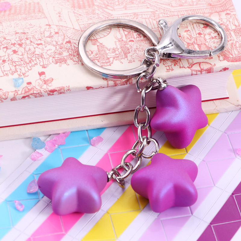 Fashion Casual Cute Pendant Acrylic Keychain Star Tassel Silver Key Chain Fantasy Candy Color Bag Accessories Charm Keyring Gift