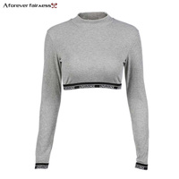 A Forever 2017 Autumn New Fashion Round Neck T Shirt Stitching Ribbon Long Sleeve Short Paragraph