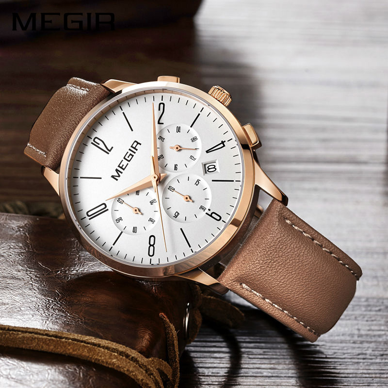 MEGIR Quartz Men Watch Top Brand Luxury Relogio Masculino Business Watches Clock Men Leather Strap Horloges Mannen Erkek Saat megir clock men relogio masculino top brand luxury watch men leather chronograph quartz watches erkek kol saati for male