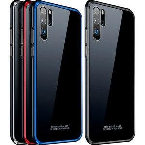 Image 5 - สำหรับ Huawei P30 กรณี P30 Pro กรอบโลหะ + กระจกนิรภัยกรณีที่มีสีสันลื่น P 30 Pro mate 20 pro เปลือกโลหะ