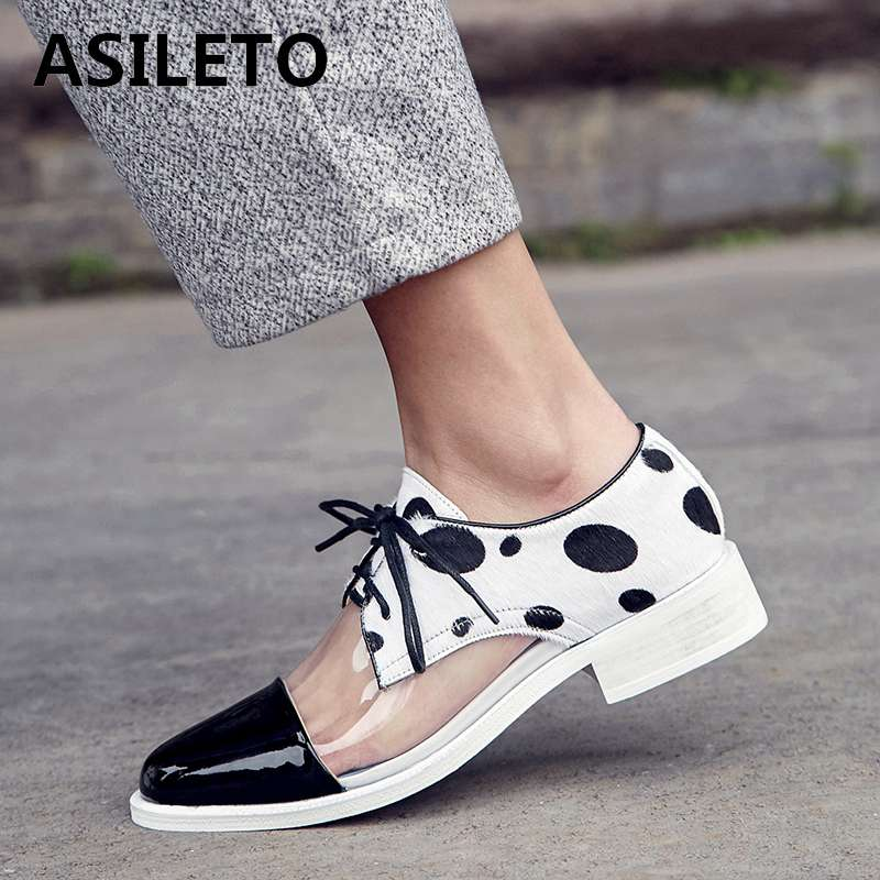 ASILETO Transparent PVC ladeis Casual Shoes genuine cow leather flats women Breathable wedding casual flat brogue