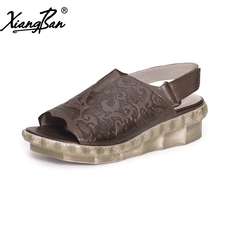 Comfortable women leather sandals handmade peep toe ladies sandals wedge heel summer shoes casual nayiduyun women genuine leather wedge high heel pumps platform creepers round toe slip on casual shoes boots wedge sneakers