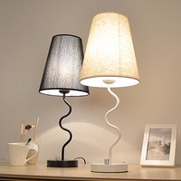 Modern Style Table Lamp 20*52cm E27 Metal Textile White/Black Lampsade Desk Light For Study Room Bedroom WTL018