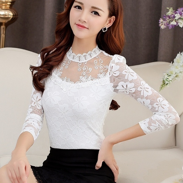 Women Sexy Hollow Out Lace Blouses Feminine Casual Blusas Shirt Long Sleeve Stand Collar Floral Tops Plus Size 5XL 2