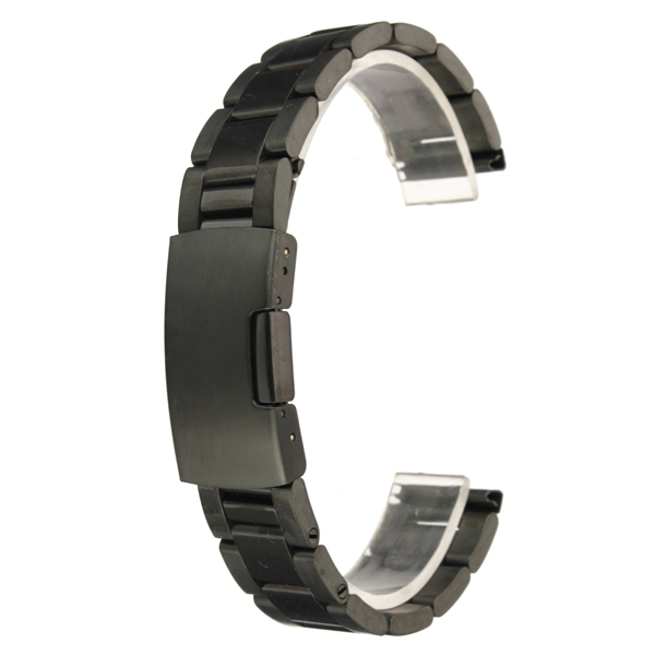 Black Stainless Steel Watch For Band Strap Straight End Bracelet 18mm 20mm 22mm 24mm Buckle Watchbands Watch Straps Gifts hot leisure watchbands stainless steel watch band strap straight snaps bracelet 18mm 20mm 22mm
