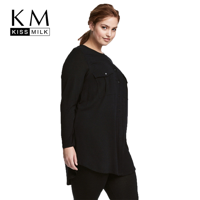 c9149355a3d4d Kissmilk Women Plus Size Button Down Two Pockets Front Shirt Long Sleeve  Solid Color Basic Tops Large Size Casual Shirt