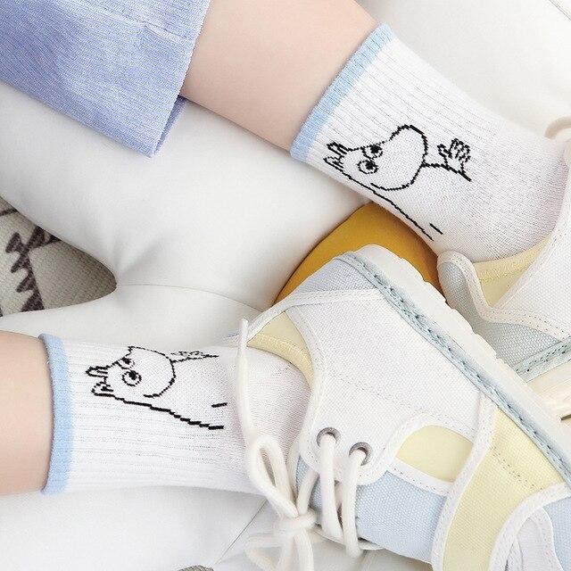 2019 Yeni Sonbahar Ve Kış Kadın Mumin Moomin Çorap Hippo Karikatür Hayvan Komik Orta Tüp Ayakkabı