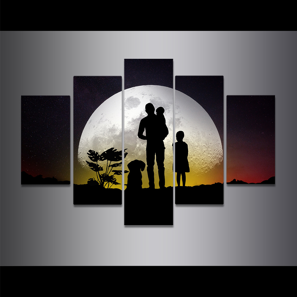 Unframed Canvas Painting Family Look At The Full Moon Beautiful Picture Prints Wall Picture For Living Room Wall Art Decoration