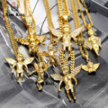 """2016 New Hip Hop Iced Out  Gold Baby Angel Cherub  Micro Pendant  24"""" 27.5"""" Cuban Link Chain Necklace Rap Men Jewelry 16 Design"""