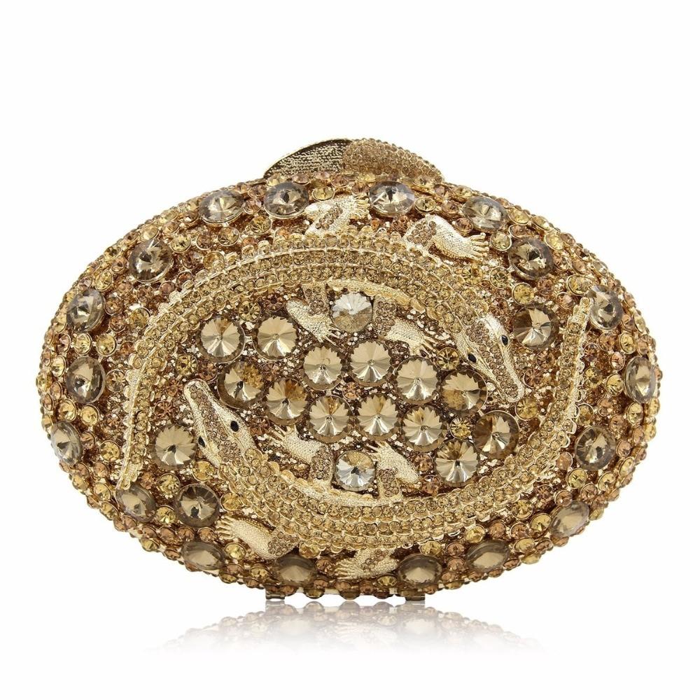 все цены на Luxe Crystal Clutch Avondtasje Twee Krokodil Koppelingen Tas Hol Party Portemonnees Dark Gold Evening Bag Wedding Bag онлайн