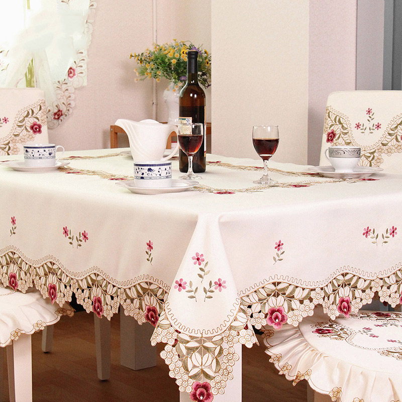 Elegant Polyester Embroidered Floral Tablecloth Lace Edge