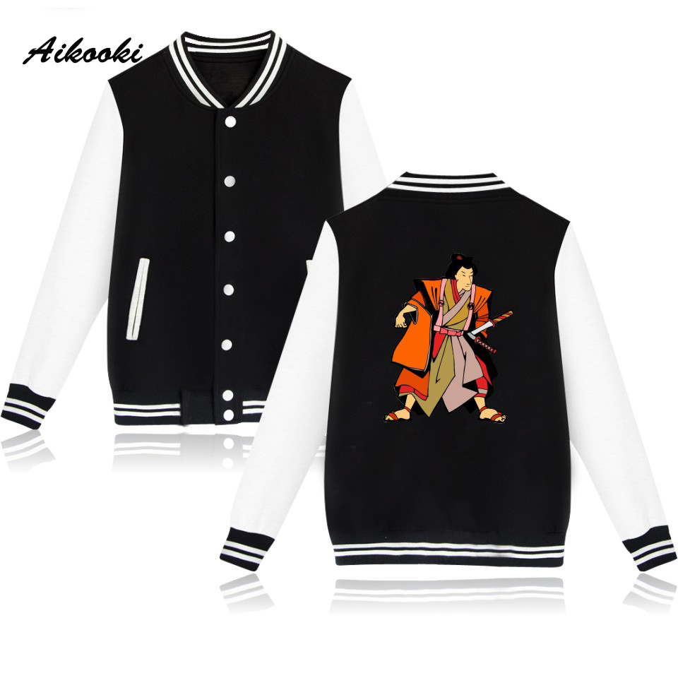 Fashion New Japanese Samurai Baseball Jacket Women Men Print College Baseball Jackets Men Black Pink Fashion Casual Male Clothes