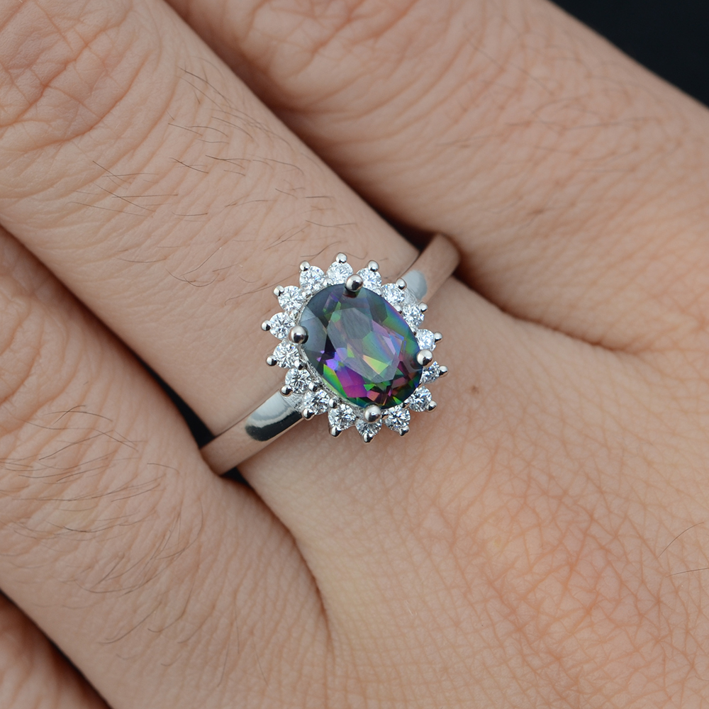 HOT SALE] Leige Jewelry Mystic Topaz Ring High Quality Halo