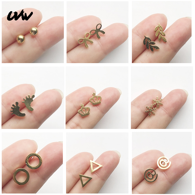 UVW071 2pc Fashion Gold Tiny Heart Triangle Round Helix Piercing Earrings Stainless Steel Women Accessories Pendientes Brincos