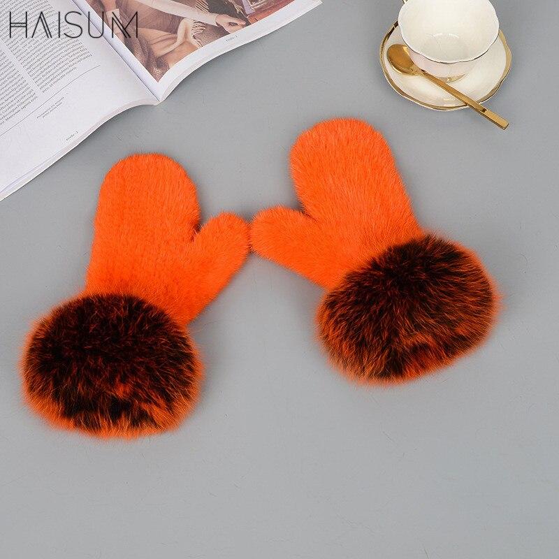 Femme vison gants couleur doigts nus hiver chaud fourrure vison cheveux fait à la main fox hai MZ101