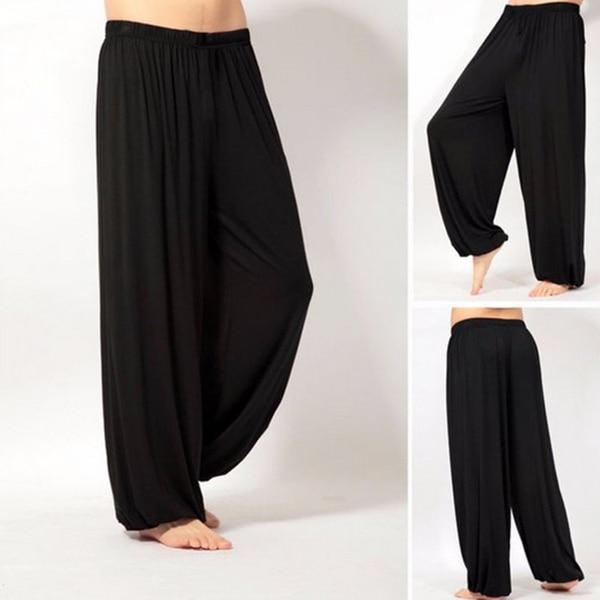 Мужские Супер Мягкие штаны для занятий йогой, штаны для занятий пилатесом, Свободные повседневные шаровары, свободные широкие штаны для отдыха, Мужские штаны XRQ88 - Цвет: Черный