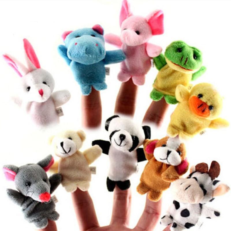 10 шт./лот, Мультяшные животные, куклы на пальцы, плюшевые игрушки на пальцы, биологическая детская кукла, Детские Обучающие Ручные куклы, игр...