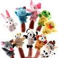 10 unids/lote Cartoon Animal Biológica Títeres de Dedo Juguetes de Peluche En Los Dedos de Los Niños Baby Doll para Niños Educativo Juguete Marionetas de Mano