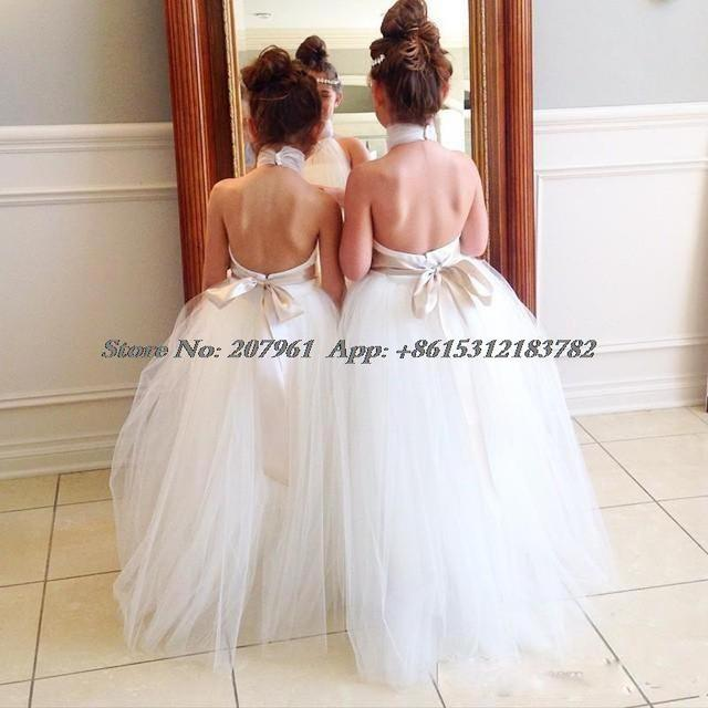 c5f751eb0 2016 White Flower Girl Dresses For Wedding Halter Backless Sashes ...