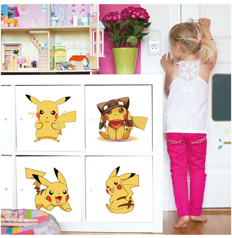 6077 Hot Popular Game Cartoon Movie Cute Pokemon Monster Wall Stickers Pikachu Kids Bedroom Living Room Decor Diy Home Decals