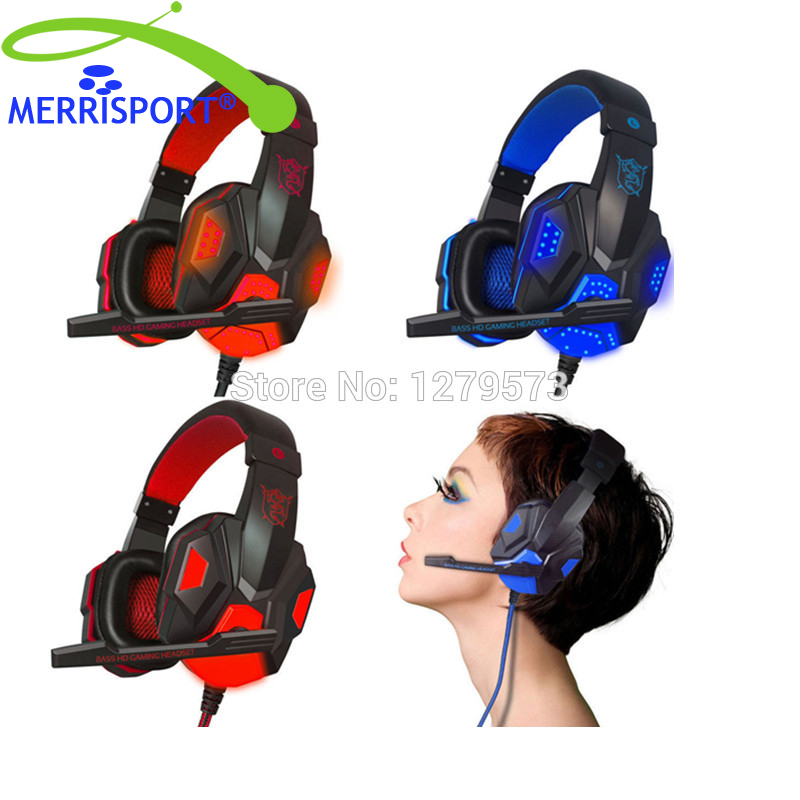 MERRISPORT Stereo Gaming Headphones Headsets with Microphone and LED Light  for PS 4 Laptop Tablet All Mobile Phones PC Black merrisport bluetooth headphones with microphone over ear foldable portable music bass headsets for iphone htc cellphones laptop