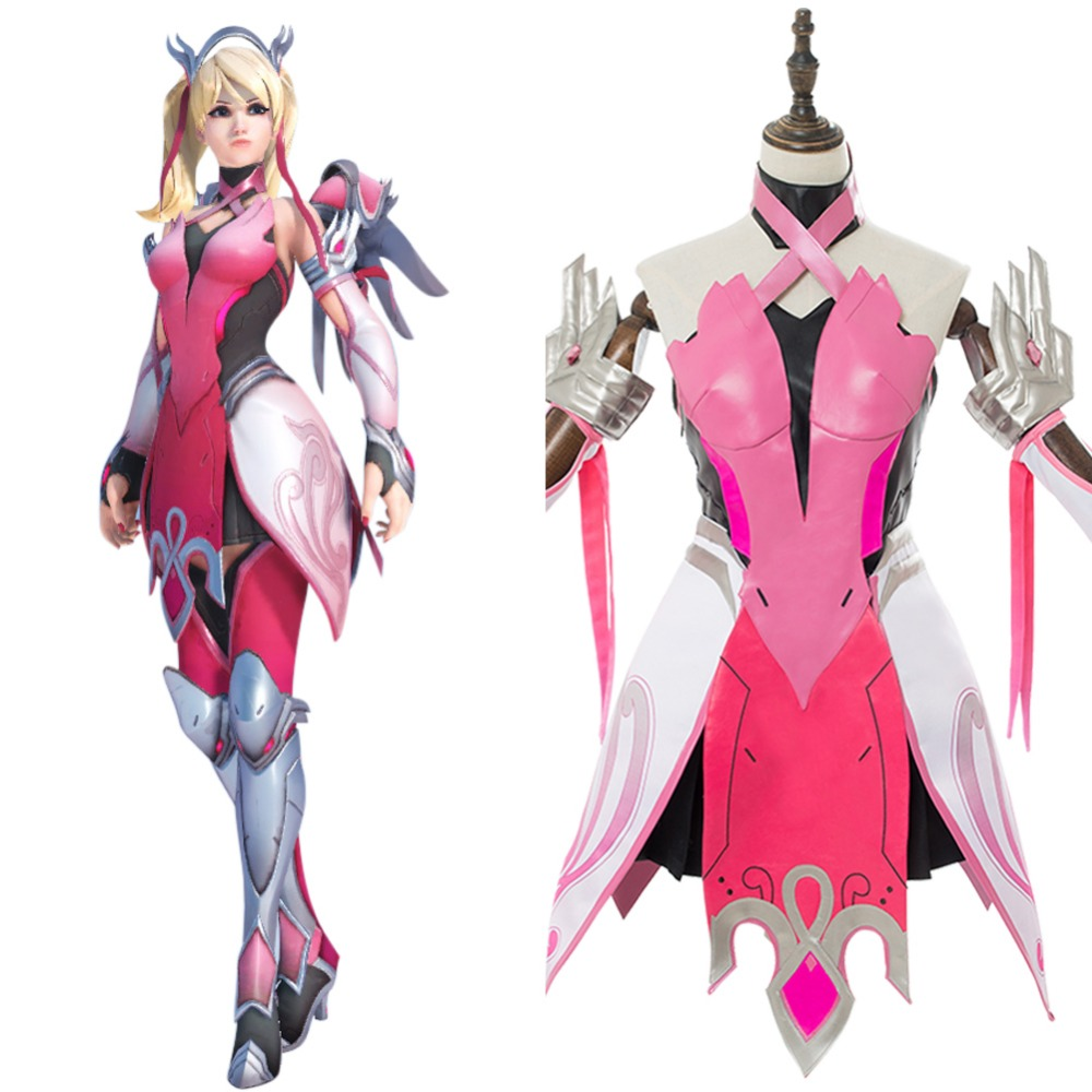 OW Angela Ziegler Mercy Cosplay Costume Pink Mercy Angela Ziegler Skin Outfit For Girls Females Carnival