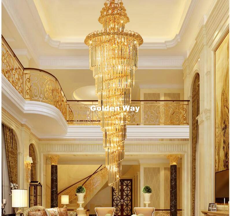 Kostenloser Versand Moderne Kristall kronleuchter LED Kerzenhalter Lampen Moderne Treppe Kronleuchter Villa Wohnzimmer Hängen Beleuchtung - 2