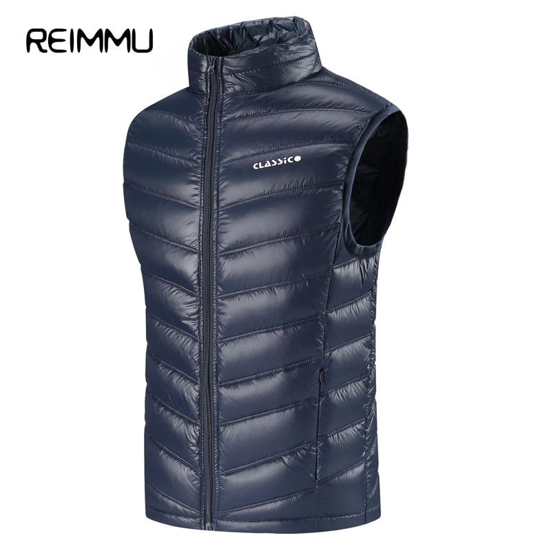Reimmu Down Jacket Men Winter Vest New Fashion Famous Brand Ultralight Down Jacket Coat High Quality Slim Fit Warm Male Vest Hot