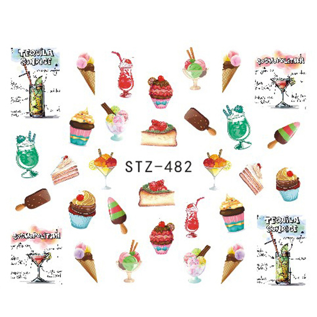 1 sheets delicious sweet cake ice cream nail sticker nail art tips water transfer diy decor